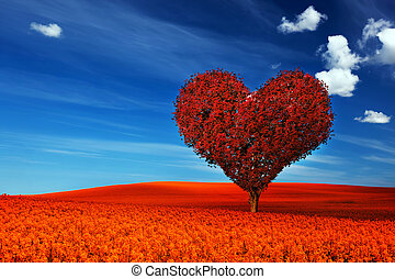 Heart shape tree with red leaves on red flower field. Love...