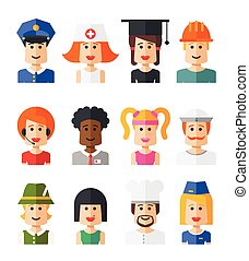 Set of isolated flat design people icon avatars for social netwo