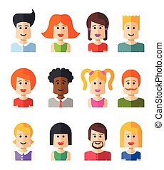 Set of isolated flat design people icon avatars for social...