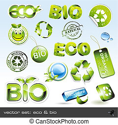 eco and bio - vector set: eco bio - 16 different items