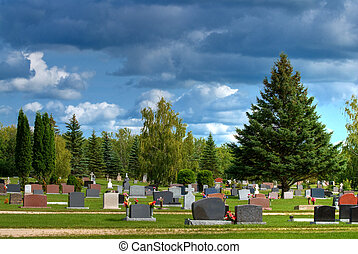 Cemetery - A cemetery or graveyard shot on a cloudy day