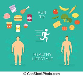Running to Healthy Lifestyle Flat Vector Card or Infographic...