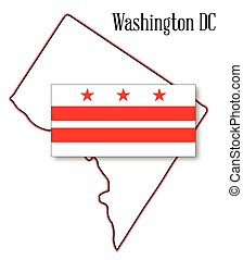Washington DC Map and Flag - Outline map of Washington DC...