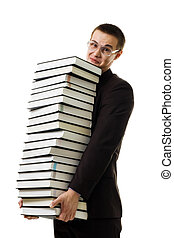 Man hold huge ammount of books expressing negativity...