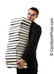Man hold huge ammount of books expressing negativity...