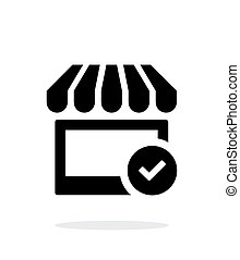 Shop check icon on white background. Vector illustration.