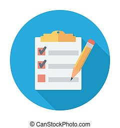 Clipboard with pen. Single flat color icon. Vector...