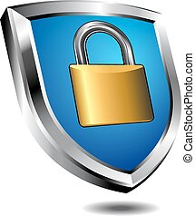 Shield Lock - Lock on shield - concept internet protection