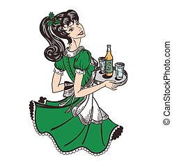 Christmas holiday theme retro waitress in green dress with holly tree leaves and berries in hair and with beer order on tray in hands.