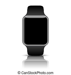 Smart watch isolated with icons on white background...