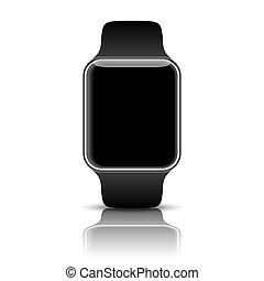 elegante, reloj, aislado, con, iconos, en, blanco, fondo.,...