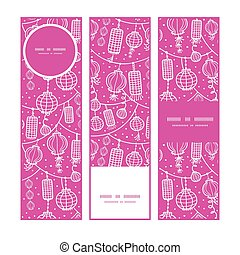 Vector holiday lanterns line art vertical banners set pattern background
