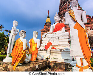 Old Buddha in old town  of Ayuthaya Province Thailand