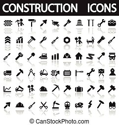 construction icons on a white background with shadow