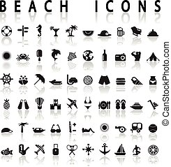 Beach Icons on a white background with shadow