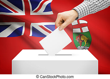 Voting concept - Ballot box with national flag on background...