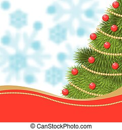 New year card with fir decorated red balls and gold garland