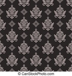 Seamless vintage beige and brown floral wallpaper