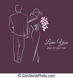 couples in love. - Elegant card with silhouette of couples...