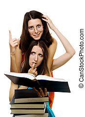Two woman stydy new subject - Two woman with many books...