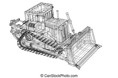Loader - Heavy Equipment Bulldozer, body structure, wire...