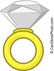 Diamond Ring - Large isolated diamond ring cartoon