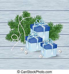 Christmas  card with blue gift boxes