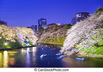 Tokyo Imperial Palace Moat in the Spring - Tokyo, Japan at...