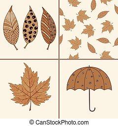 Set of autumn elements