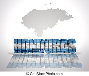 Word Honduras on a map background - Word Honduras with...
