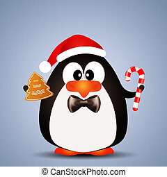 Penguin with Candy cane for Christmas - illustration of...