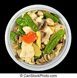 Moo Goo Gai Pan in a bowl on a black background