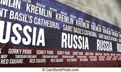 Russia Flag Tourism Attractions - Scrolling banner with the...