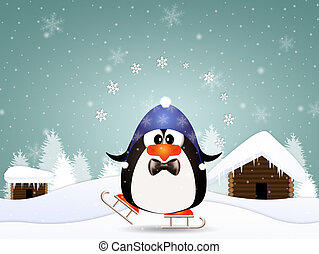 Funny penguin with skates - illustration of Funny penguin...