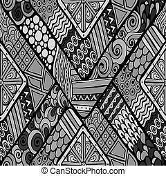 Tribal doddle rhombus seamless background - Original drawing...