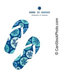Vector round snowflakes flip flops silhouettes pattern frame...