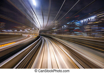 Monorail Motion Blur - Monorail motion blur on the...