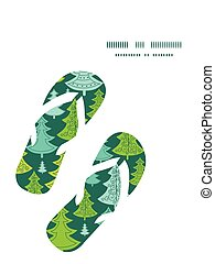 Vector holiday christmas trees flip flops silhouettes...
