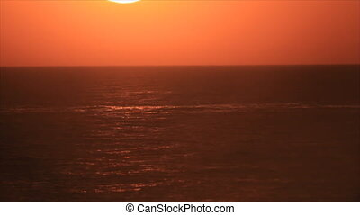 Sea side sunset - Sunset in sea horizon