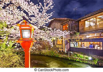 Kyoto, Japan Spring River View - Kyoto, Japan at the...
