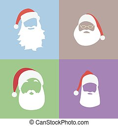 Santa Klaus silhouette Illustration icons set