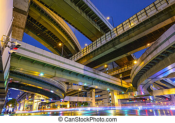 Elevated Highways and Roads in Osaka, Japan.