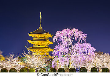 Kyoto Pagoda in the Spring - Kyoto, Japan at Toji Pagoda in...