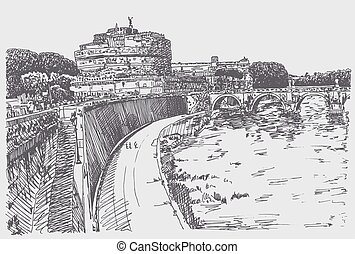 drawing cityscape with fortress of Sant'Angelo in Rome -...
