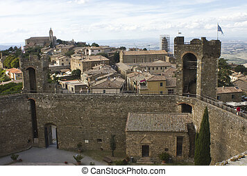 View of Montalcino city from its Castle - Montalcino, Italy:...