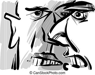 angry arguing men sketch drawing