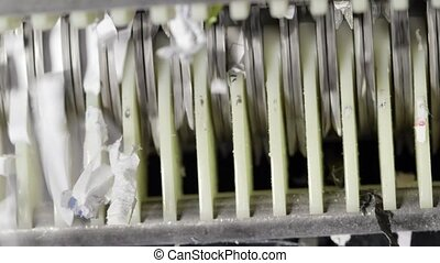 Shredding paper recycle concept - Shredded paper documents...