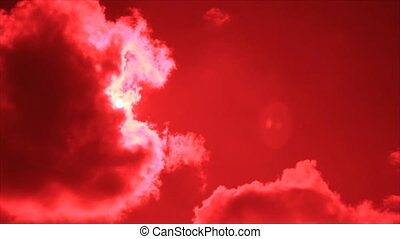 Sun disk from cumulus on red sky - Sun disk behind cumulus...