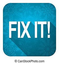 fix it flat icon, christmas button