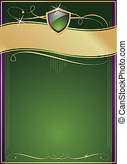 Ornate Green, Purple & Gold Page with Shield, Copy Space and...